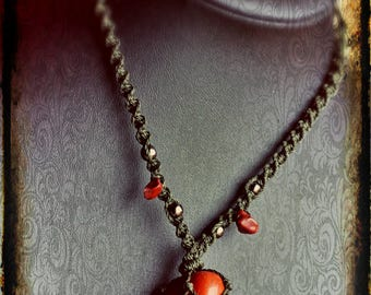 Macrame necklace with red Jasper