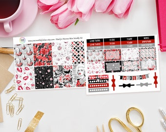 """LAST CHANCE """"Marilyn"""" planner stickers Kit, Erin Condren Mini Weekly Kit (2 Pages), Icon, Marilyn Monroe, Red, Vertical, Planning Kit,"""