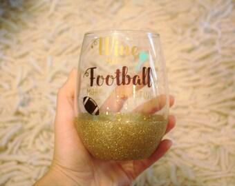 Wine makes football more interesting,cute football wine glass,stemless wine glass,glitter dipped wine glass,funny wine glass,wine glass,gift