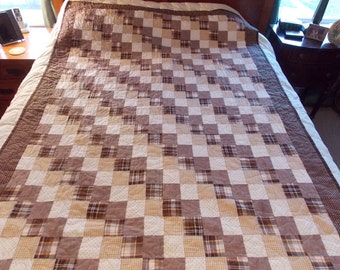 Brown, Tan & White Twin Quilt
