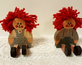 """Adorable Hand Made Vintage Wood Raggedy Ann and Andy Doll Set 4"""""""