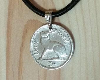 Ireland Rabbit Coin pendant necklace, Irish 3 Pence hare rabbit pendant, Gaelic harp rabbit bunny hare cute animal Irish coin pendant charm