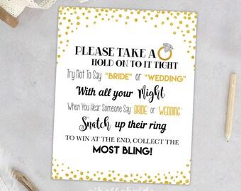 Don't Say Bride or Wedding Gold Confetti Bridal Shower Gold Glitter Bridal Shower Games - Please Take A Ring - Gold Confetti 032