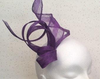 Purple Fascinator Hatinator Headpiece Wedding Fascinator on Clip or Comb / Multi Coloured  / Bespoke