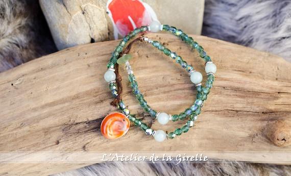 Bracelets MAGDA Emerald : Eye of Santa Lucia and glass beads - Double turn bracelet