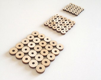 Set of 50 Wood Beads / Flat beads / Beads for jewelry making / Beads bulk / Beads and charms / Laser cut wood / Wooden beads / Wood shapes