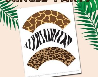 Animal prints cupcake wrappers,safari cupcake wrapper,jungle cupcake wrapper,printable zoo cupcake wrapper,zoo birthday,safari birthday,