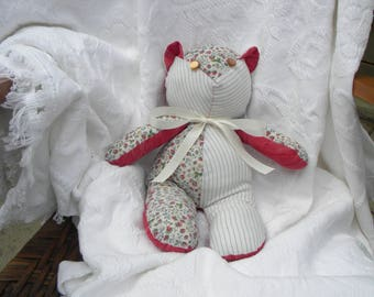 Teddy Bear. Vintage Sheets. Shabby chic. Strawberries. Vintage buttons. Handmade. Home Decor. Nursery Decor. One-of-a-Kind. Vintage linens.