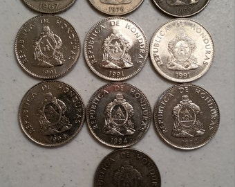 10 honduras vintage coins 1967 - 1994 coin lot 50 centavos - world foreign collector money numismatic a37