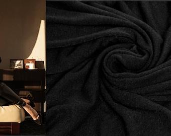 BLACK Italian Wool Fabric by the Yard Knitted Angora Tricot Viscose Jersey Sweater Knit Mediumweight Fabric Soft Natural Luxury Textile DIY