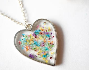 Real Dried Flowers in Resin Necklace, Silver Heart in Party Mix