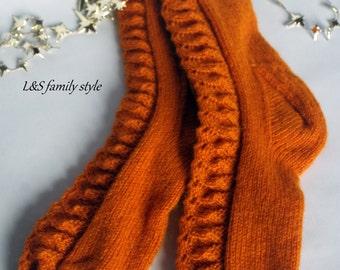 Knitted wool socks - Christmas gift - hand knit woolen socks - warm womens socks - winter socks