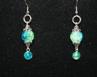 Mermaid Earrings Handmade Blue Green Crackle Glass Dangle Cruise Beach Wedding Cruise