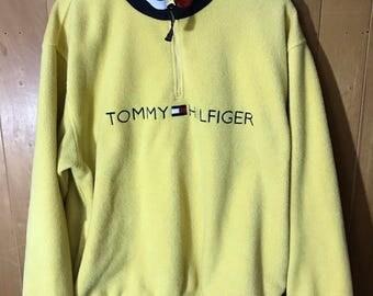 Tommy Hilfiger Yellow Fleece Quarter Zip Jacket Men's Large