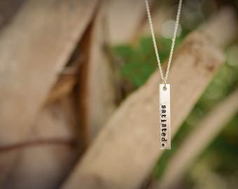 Name or Word Necklace, CUSTOM Single Word or Name Hand-Stamped Vertical Metal Bar Necklace
