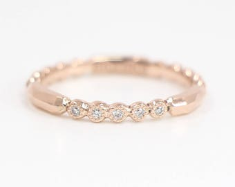 Diamond Wedding Band, Diamond Wedding Ring, Diamond Engagement Band, Diamond Engagement Ring, Bead Diamond Ring
