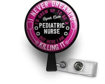 Super Cute Pediatric Nurse Retractable ID Badge Reel