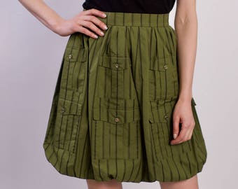 Chanel Vintage Moss Green Cotton Skirt