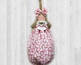 Pink Decor, Daisy Decor, Grocery Bag Holder, Gift for Her, Hostess Gift, Home Decor, Whimsical Wall Decor, Plastic Bag Dispenser