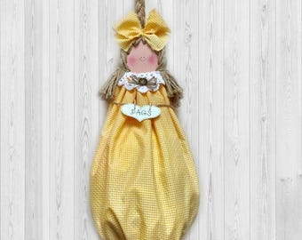 Yellow Kitchen Decor Grocery Bag Holder Gift For