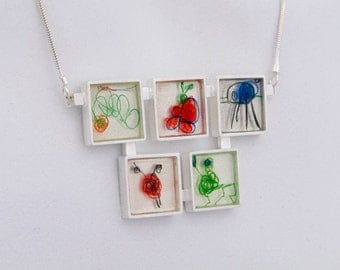 Childrens Drawing Necklace- Five Frame