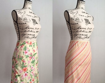 Vintage Reversible Floral to Stripe Skirt, Vintage Floral Skirt, Vintage Stripe Skirt, Reversible Skirt, Vintage Spring to Summer Skirt