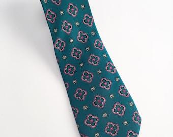 Vintage Dark Teal Green Necktie with Magenta Accents, 1960s Necktie, 60s Necktie, Vintage Floral Neckie