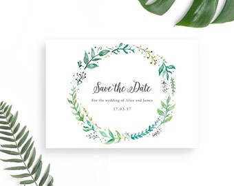 Greenery Save the Date Template / Printable Save the Date Card / Wedding Save our Date / Green Leaves Rustic Wedding / DIY Wedding Card PDF