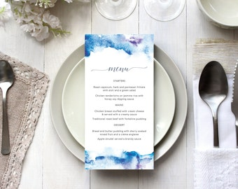Printable Wedding Menu Blue Watercolour // Ocean Wedding // Beach Wedding Menu // Seaside Wedding Menu // Nautical Wedding