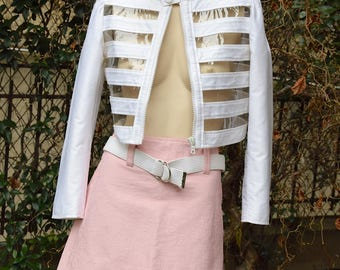 COURREGES 1980 Perspex and White Cotton Short Jacket