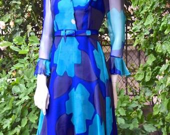 MOLYNEUX 1970 Flowery Pattern Chiffon Dress