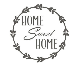 Home Sweet Home vinyl stencil for kitchen or dining wall decor