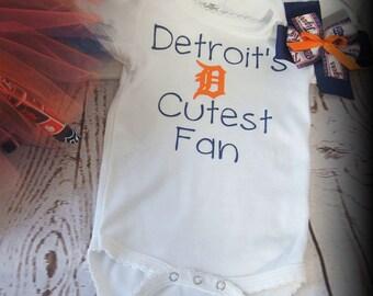 Detroit Tigers Bodysuit, Baseball, Onesie, Birthday Girl, Baby Shower Gift, Baseball Bodysuit, Baby Clothes, Toddler Shirt, MLB, Tigers
