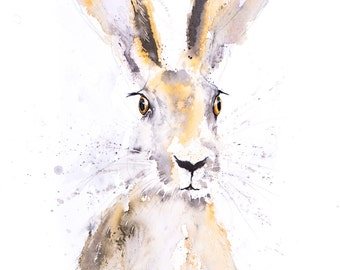 Hand Signed limited Edition Print of my Original Water Colour Painting of a Hare. Hare wall art, home decor, nursery art, wildlife animal.