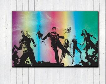 "Guardians of the Galaxy Vol 2 11x17"" Print, Starlord, Baby Groot, Rainbow GotG, Gradient Super Heroes, Chris Pratt, Movie Poster, 80's"