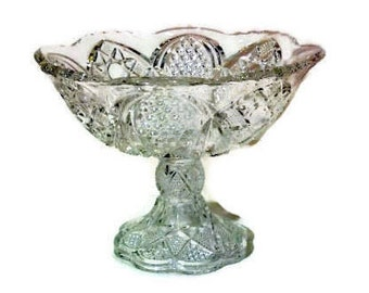Vintage Pressed GLASS COMPOTE Wedding Candy Dish Pedestal Bowl Shabby Chic  Cut Glass Style