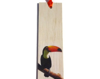 Wooden bookmark - Wood bookmark - Toucan bookmark - Unique bookmark - Handmade bookmark - Bird bookmark - Toucan - Book lover gift