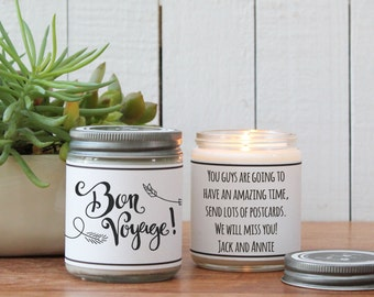 Bon Voyage Soy Candle Gift - Bon Voyage Gift | Leaving for College Gift | Travel Gift | Vacation Gift | New Endeavor Gift | Retirement Gift