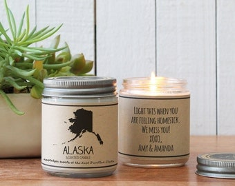 Alaska Scented Candle - Homesick Gift | Feeling Homesick | State Scented Candle | Moving Gift | College Student Gift | State Candles