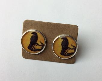 Raven , crow stud earrings