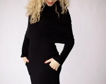Black midi dress, black long sleeve dress, casual dress with pockets knee length dress black office dress black hooded dress cowl neck dress