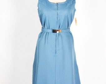 1960s Zip Up A-Line Scooter Dress/Size Lg/XL