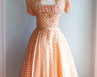 """1950's Red/Orange and Cream Polka Dot Layered Party Dress with Matching Shrug/Bolero by Seymour Jacobson/Waist 24"""""""