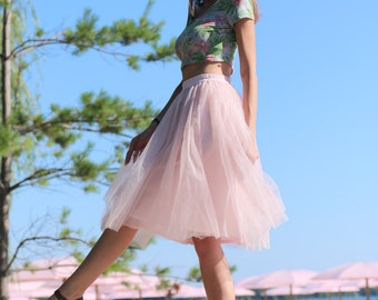 Pink tulle skirt; Womens tulle skirt; Blush tutu skirt; Midi tulle skirt; Blush bridesmaid skirts; Bridesmaids dress; Adult tutu