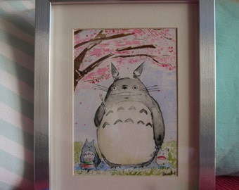 Totoro Sakura Hanami Dango 2 under the cherry blossoms, original watercolor print