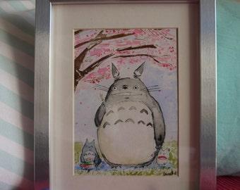 Totoro Sakura Hanami Dango 2 under cherry blossoms, original watercolor print