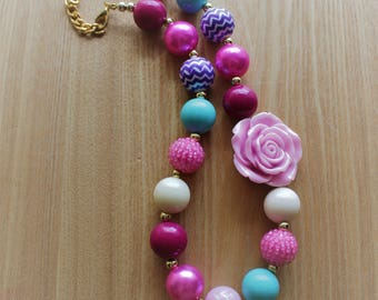 Various Pinks With Purple and Teal Accents Chunky Bead Necklace