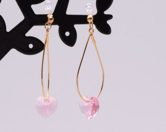 Pink Rose Love Heart Swarovski Crystals Invisible clip on earrings ,gold/Silver,clip on earrings,gift for women