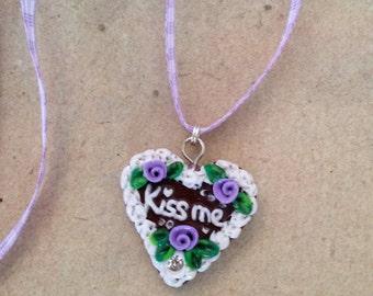 Heart Necklace Kiss me purple