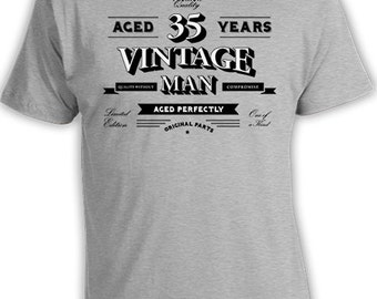 Funny Birthday Gifts For Him 35th Birthday TShirt Personalized T Shirt Custom Age Bday B Day Aged 35 Years Old Vintage Man Mens Tee DAT-803